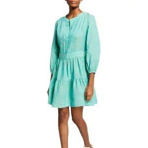 FINLEY - NEIMAN MARCUS - Mia Pintucked Linen Peasant Dress In Jade